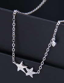 Fashion Silver Copper Plated Gold Star Necklace