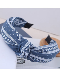 Fashion Blue Knotted Small Leaf Pattern Headband