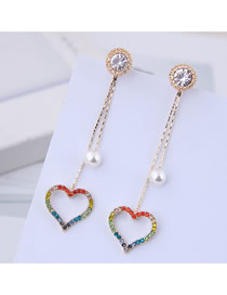 Fashion Gold 925 Silver Needle Flash Diamond Love Earrings