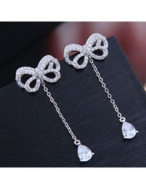 Fashion Silver Bow Inlaid Zircon Drop Earrings