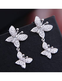 Fashion Silver Inlaid Zircon Butterfly Dance Flying Earrings