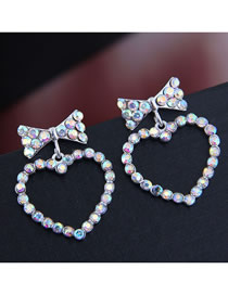 Fashion Silver Bow Love Earrings