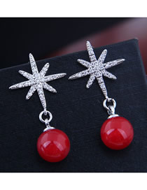 Fashion Red Sun Flower Ball Earring