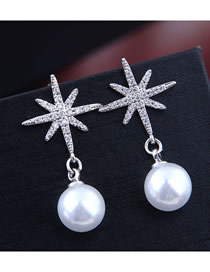 Fashion White Sun Flower Ball Earring