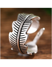 Fashion Silver Leaf Open Ring