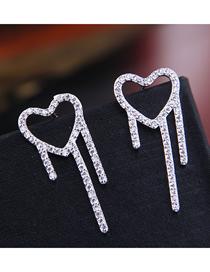 Fashion Silver 925 Silver Pin Zirconium Love Earrings