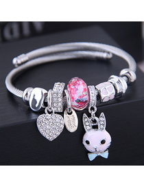 Fashion Pink Metal Love Rabbit Bracelet