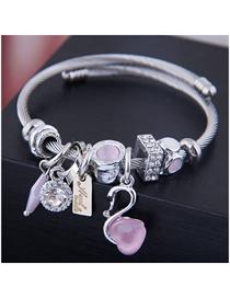 Fashion Pink Metal Swan Bracelet