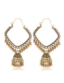 Fashion Gold Square Bell Drop Ear Studs