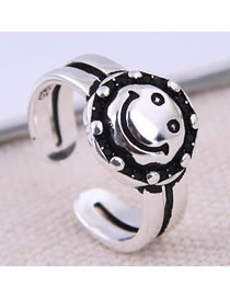 Fashion White K Smiley Open Ring