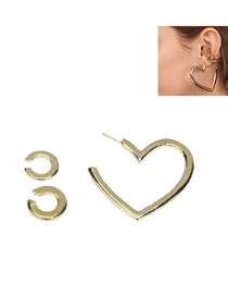 Fashion Gold Metal Circle Love Combination Single Earring
