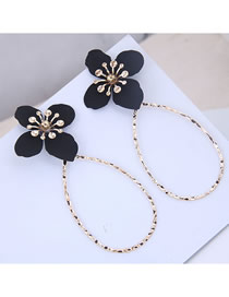 Fashion Black Metal Flower Drop Earrings