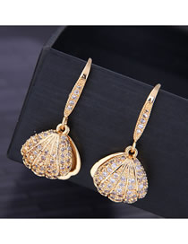 Fashion Gold 925 Silver Pin Copper Micro Inlaid Zircon Shell Earrings