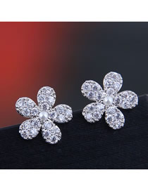 Fashion Silver 925 Silver Needle Copper Micro Inlaid Zircon Flower Earrings