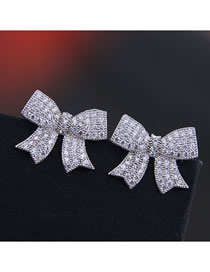Fashion Silver 925 Silver Pin Copper Micro Inlaid Zircon Bow Earrings