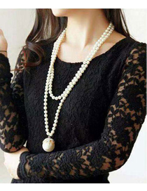 Fashion White Metal Diamond Ball Pearl Necklace
