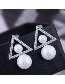 Fashion Silver 925 Silver Needle Copper Micro-inlaid Zircon Triangle Pearl Stud Earrings