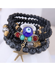 Fashion Black Metal Starfish Eyebrow Multilayer Bracelet