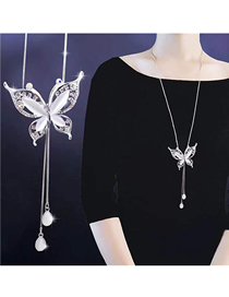 Fashion Silver Metal Flash Drill Butterfly Drop Necklace