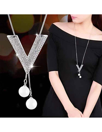 Fashion Silver Metal Flash Drill V-shaped Drop Ear Pearl Necklace