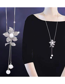 Fashion Silver Metal Flash Drill Small Flower Drop Ear Pearl Necklace