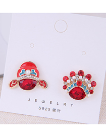 Fashion Red 925 Silver Needle Flower Asymmetrical Earrings