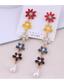 Fashion Color 925 Silver Needle Flower Earrings