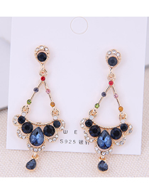 Fashion Gold 925 Silver Needle Flash Drill Earrings