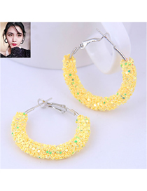 Fashion Yellow Sequin Ear Studs