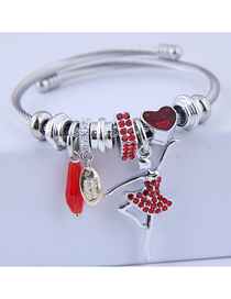 Fashion Red Metal Flash Drill Ballet Bracelet