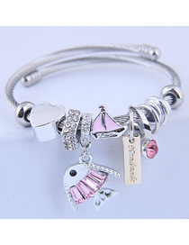 Fashion Pink Metal Cartoon Fish Bracelet