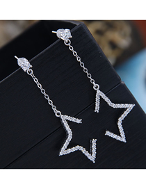Fashion Silver 925 Silver Pin Copper Micro Inlaid Zircon Star Stud Earrings