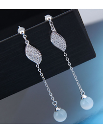 Fashion Silver 925 Silver Needle Copper Micro Inlaid Zircon Foliage Jade Earrings