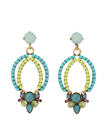 Fashion Green Metal Fluorescent Earrings