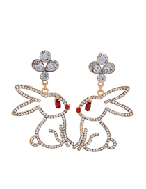 Fashion Gold Metal Flash Diamond Rabbit Earrings