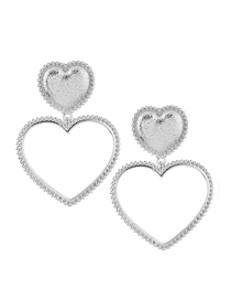 Fashion Silver Metal Heart Earrings