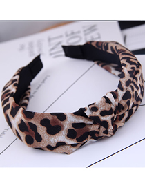 Fashion Khaki Leopard Fabric Knotted Wide Edge Hoop