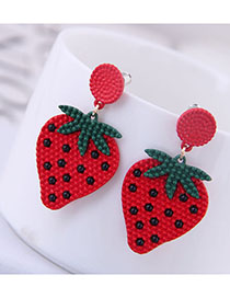 Fashion Red Strawberry Contrast Earrings