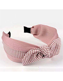 Fashion Pink Houndstooth Rabbit Ear Contrast Wide-edged Hair Band Head