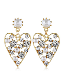 Fashion White Diamond Peach Heart Stud Earrings