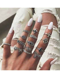 Fashion Silver Flower Palm Snake Cutout Ring Set With Diamonds