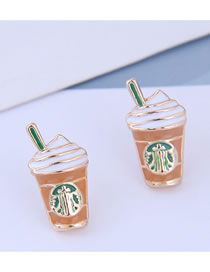 Fashion Brown Tea Cup Ear Studs