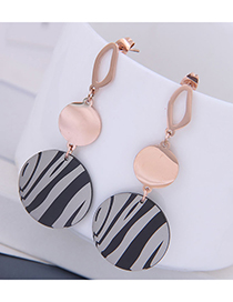 Fashion Rose Gold Titanium Steel Stripe Geometric Stud Earrings