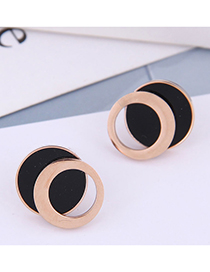 Fashion Rose Gold Titanium Steel Double Ring Round Hollow Stud Earrings