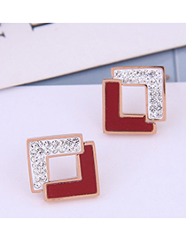 Fashion Red Solid Geometric Square Diamond Stud Earrings