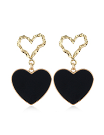 Fashion Black Double Love Irregular Concave And Concave Hollow Stud Earrings