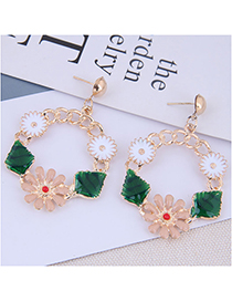 Fashion Alloy + Drill Flower And Leaf Chain Stud Earrings