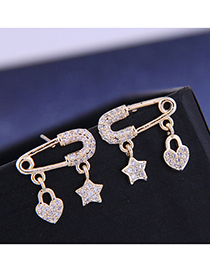 Fashion 925 Silver Needle + Copper + Zircon Star Pin Earrings With Diamonds