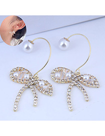 Fashion Golden Pearl Earrings With Diamond Bow
