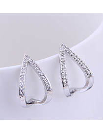 Fashion Silver Brass And Diamond Love Heart Geometric Openwork Earrings